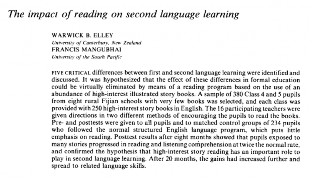 The Impact of Reading on Second Language Learning