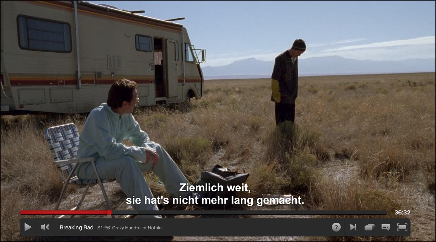Watching Breaking Bad with German subtitles