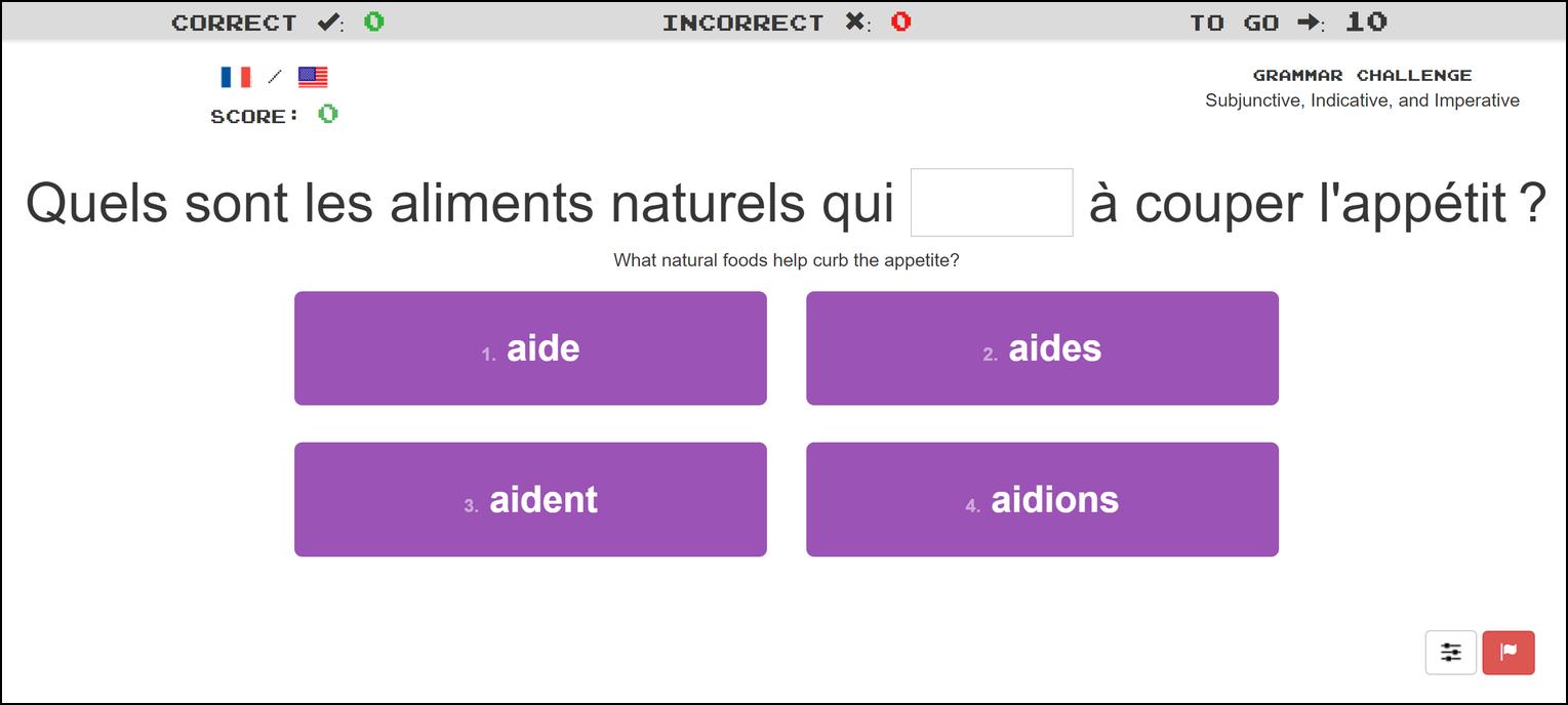 Clozemaster French Grammar Challenge screenshot
