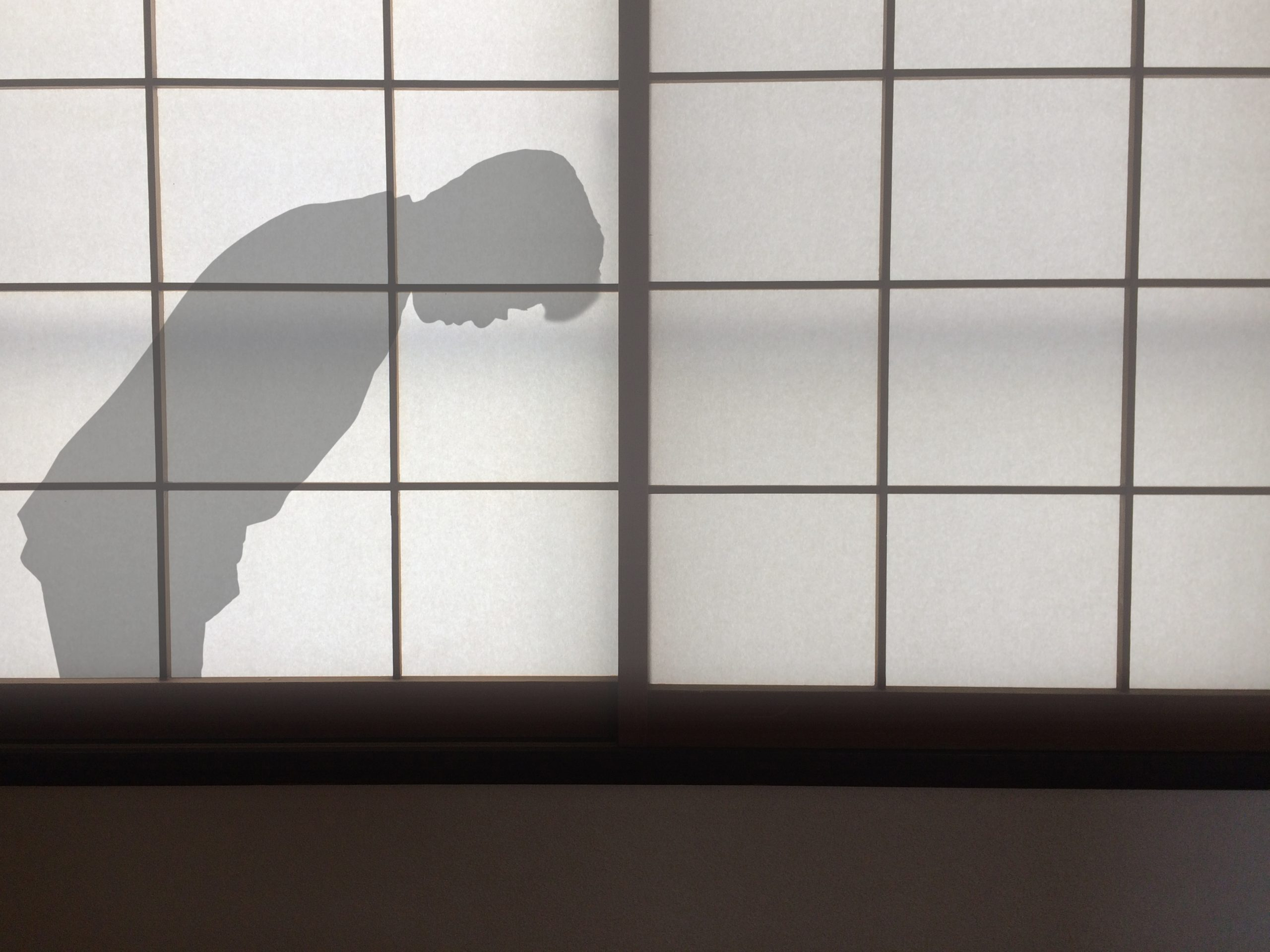 A shadow of a man bowing in a gesture of apology